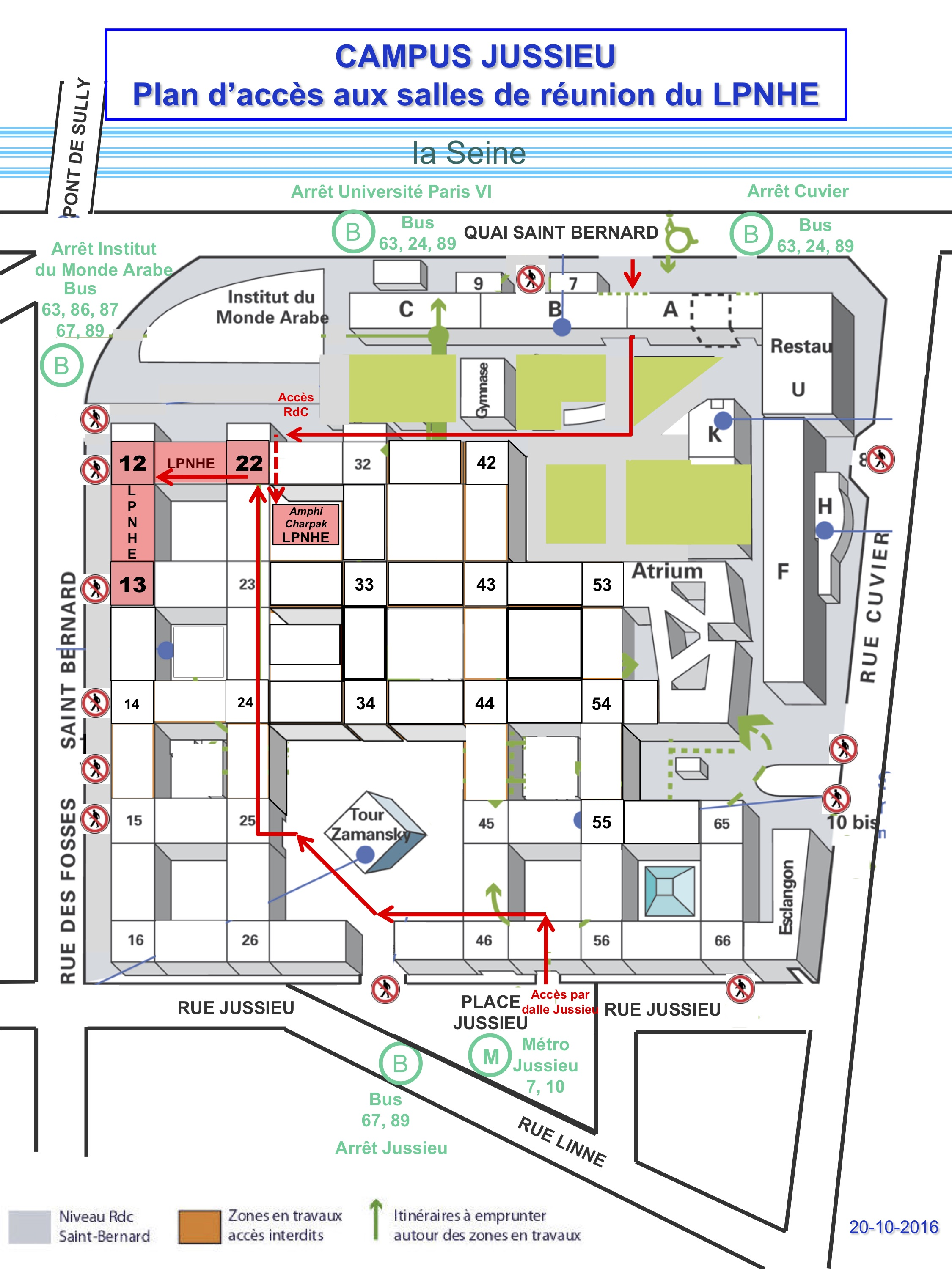Map showing how to get to the workshop on the Jussieu campus